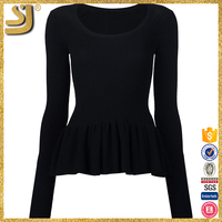 OEM factory price plain black crew neck sweaters, fashion round neck woman knitwear