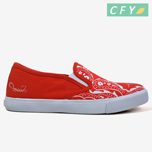 2017 digital print red color canvas shoeshot sale New Style new arrival Women Casual Shoes slip on