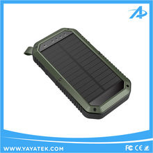 8000mah IP65 waterproof solar power bank with 3 USB ports for mobile phone
