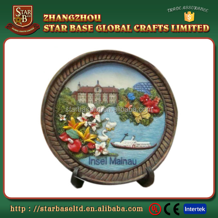 Tourist gift wholesale resin custom Germany souvenirs decorative plate for wall hanging