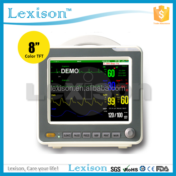 CE&FDA Approved Touch Screen Patient Monitor with ECG/RESP/NIBP/SPO2/TEMP (PPM-S800)