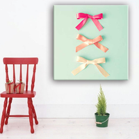 Ribbon decoration simple canvas wall art painting designs with glass coating