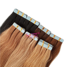 Grade 7a virgin remy tape extensions Chestnut brown human hair double drawn european tape in