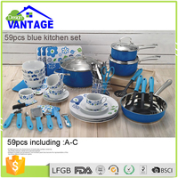 59 Pcs Hot Blue Cooking Pot