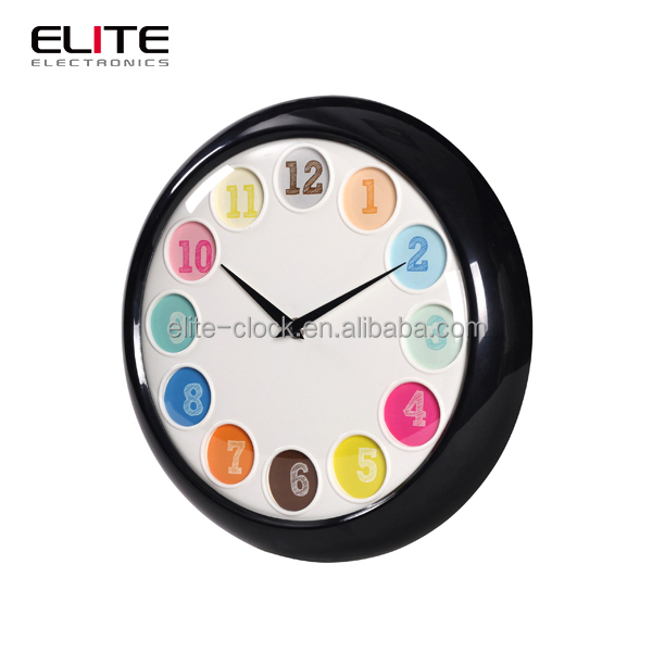 Quartz movement colorful ball shape numbers plastic wall clock