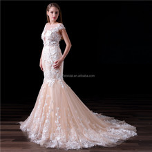 OEM Custom Made 2018 Real Photo Mermaid Champagne 3D Lace Flowers Bridal Wedding Dresses Gowns