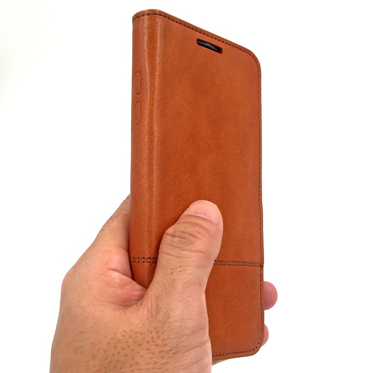 brown leather phone cover case for samsung galaxy s7 edge