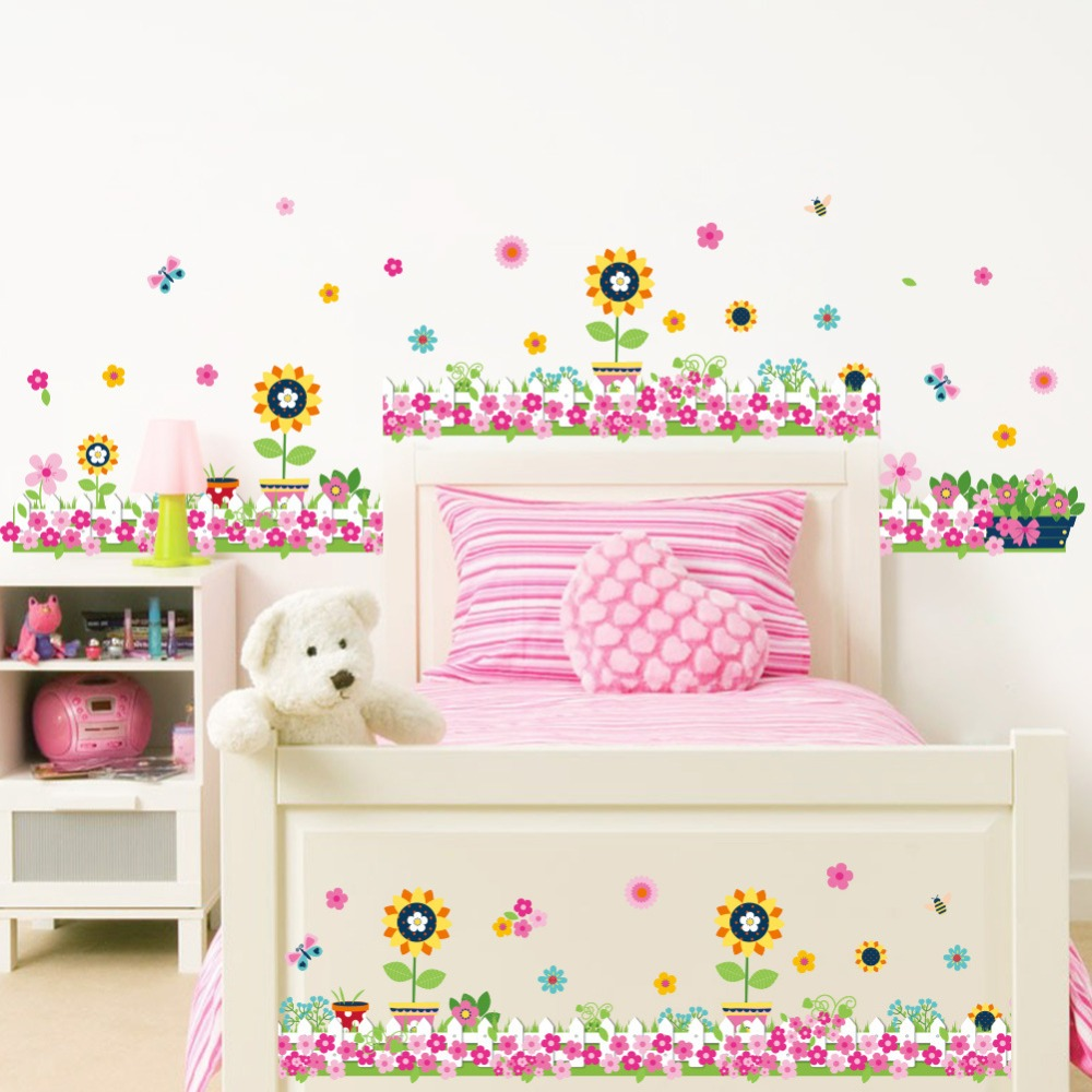 Cute flower wall stickers for child room