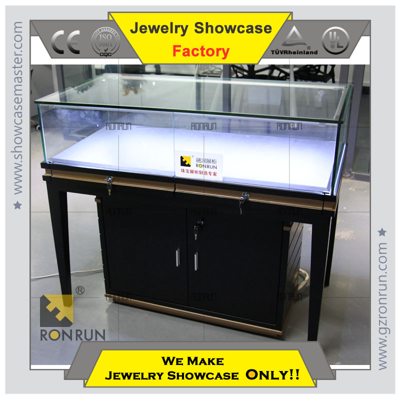 Hot selling jewelry display showcase with base cabinet for shopping mall