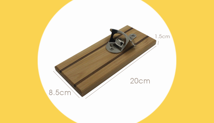 Wood Wall Plaque beer Bottle Opener with Magnetic Cap Catcher