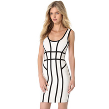White And Black Striped 2014 New Ladies Mini Sexy Bodycon HL Bandage Dress Celebrity Style Dresses