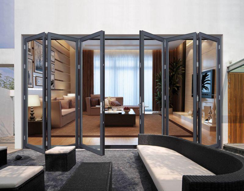 Newest Design Aluminum Entrance Door Glass Folding Door For Commercial
