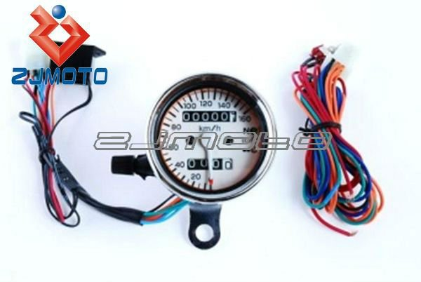 ZJMOTO Universal MINI Motorcycle Dual Odometer Mechanical Gauge digital Speedometer with white Interface 3 LED indicators Custom
