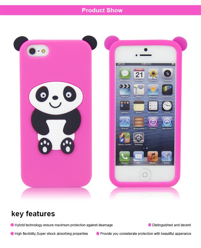 lovely panda case for samsung galaxy s4, silicone case shaped animal for iphone 5 ,wholesale case
