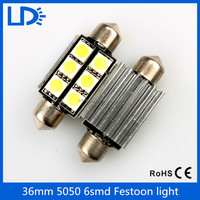 car led light 36mm FESTOON 5050 6SMD C5w Car Led Bulb CANBUS festoon light