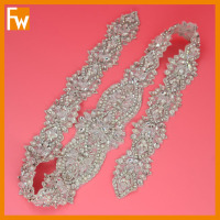 Wholesale silver rhinestone bridal beaded appliques for wedding sash decoration