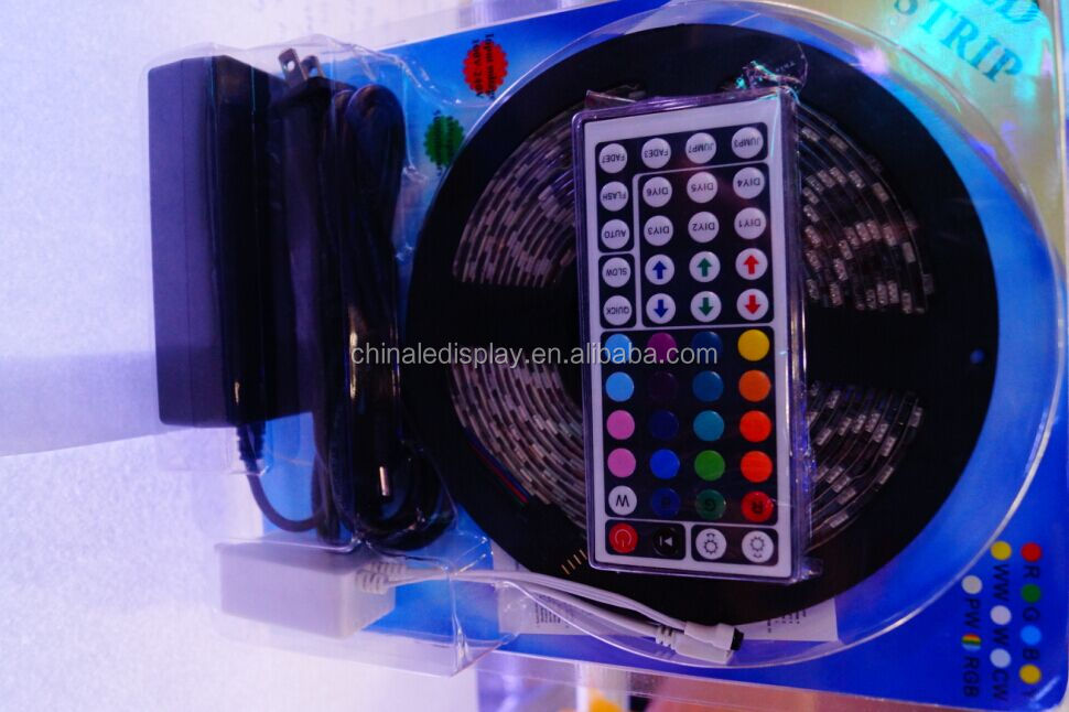 Worbest factory direct wholesale IP65 waterproof 3528 RGB smd led strip+ IR44keys white Shell RGB Controller