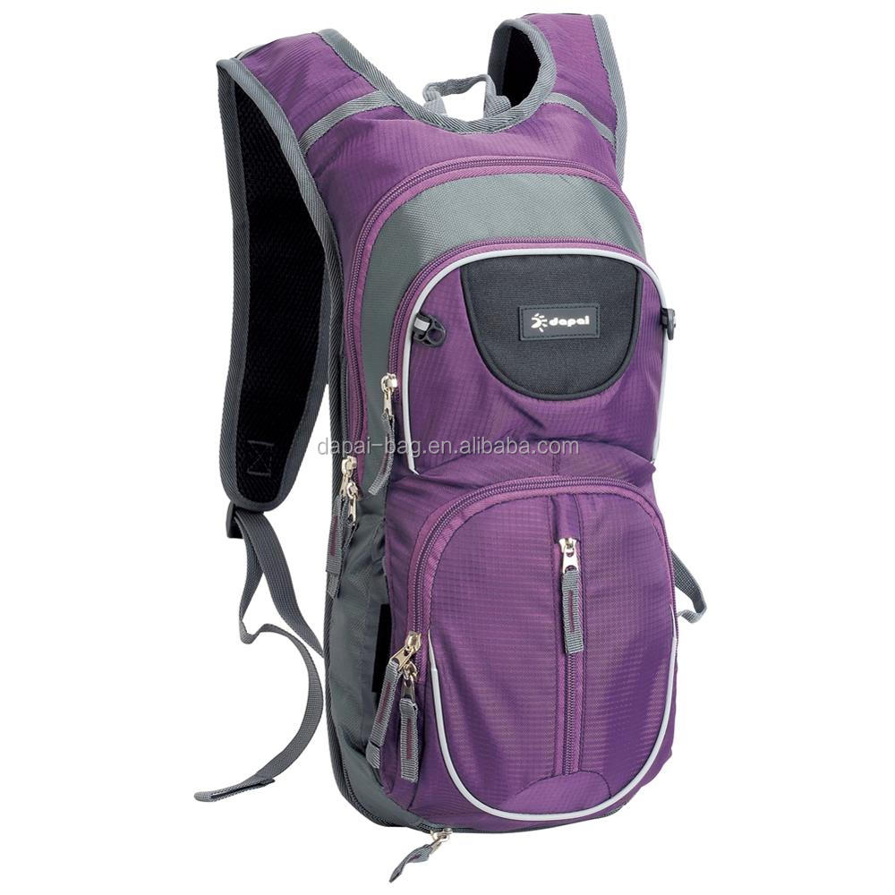 customized ladies purple breathable hydration backpack with TPU water bladder