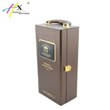 Wholesale Leather wooden Wine Gift Box Wine Packaging Case with Handle