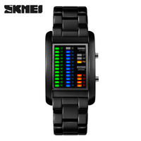Top Quality Luxury Brand Skmei 1103 Full Steel Strap 5ATM Waterproof Relojs Muliti-Color LED Samurai iron Military Watches Men