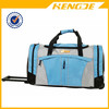 Blue Waterproof Travel Rolling Duffel Bag with Trolley