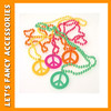 PGNE0047 hot selling colourful peace sign plastic necklace