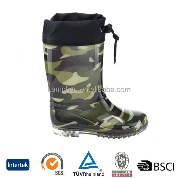 2017 latest fashion waterproof elastic brand camo green printed pvc outsole ankle neoprene wellies rubber rain boot men