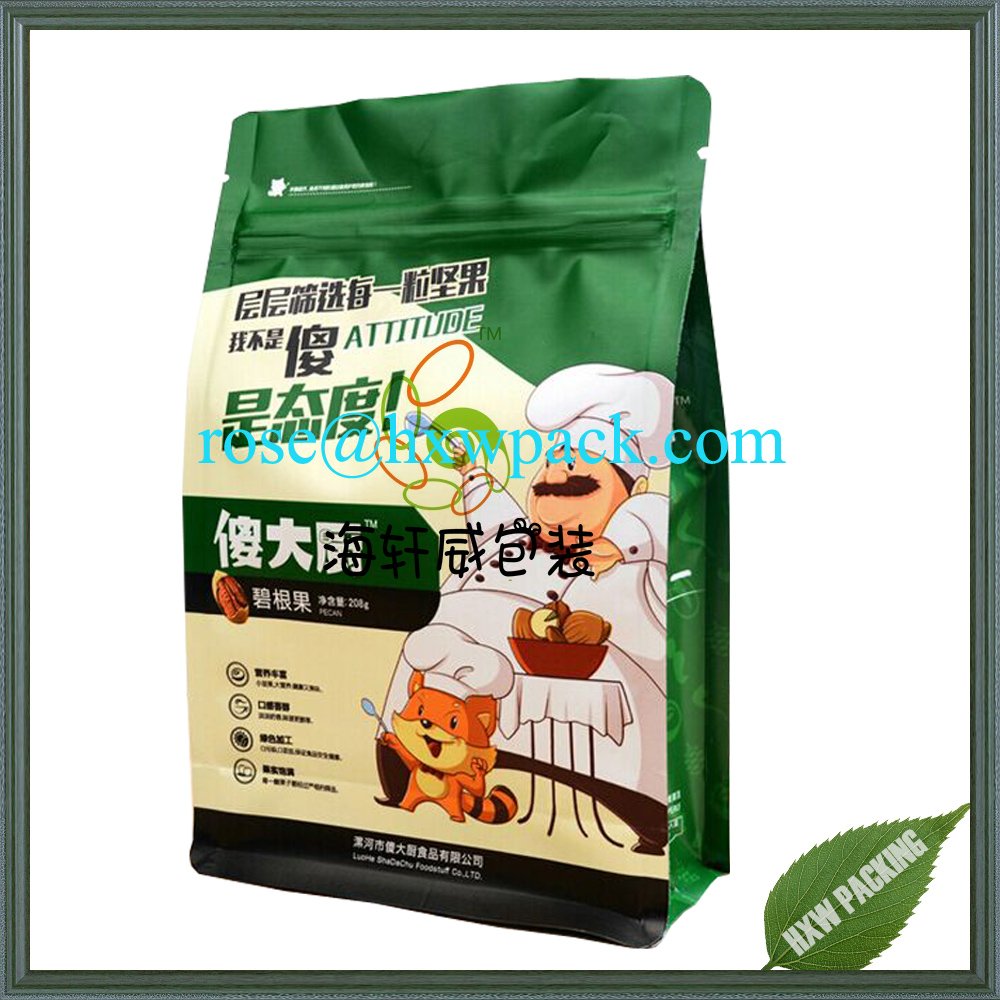 1kg size Block bottom aluminum foil custom design spot color dried fruit packing plastic bag with zipper