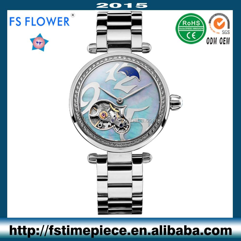 FS FLOWER - Heart Skeleton Automatic Mechanical Watches Ladies Stainless Steel Watch Case and Band