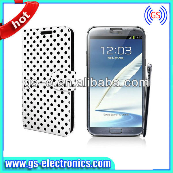 Cute polka dot Flip leather case for samsung galaxy note 2 n7100