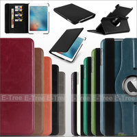 High quality Crazy Horse PU Leather Flip Stand Rotation Case With Card Slot Cover for Apple iPad5