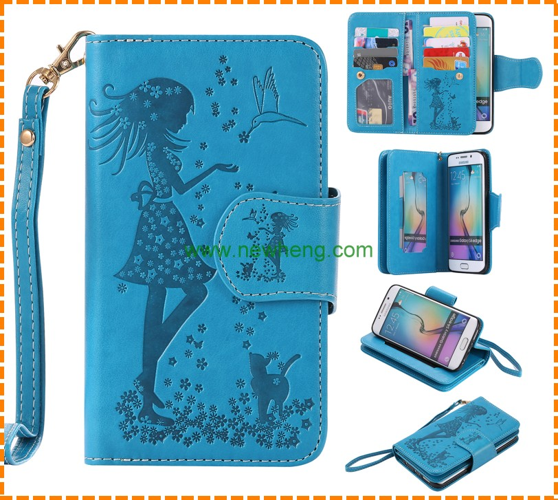 Women Wallet Mirror Leather Phone Case for Samsung Galaxy S6