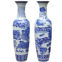 Jingdezhen large size tall floor standing blue and white porcelain ceramic vase