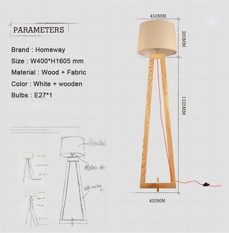 Modern Wood Floor Standing Lamps Fabric Lampshade Cord Wooden Tripod Base Lamp
