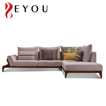 Japanese Style Grey Ash Solid Wood Fabric Lounge Sofa Set with Comfortable Ottoman