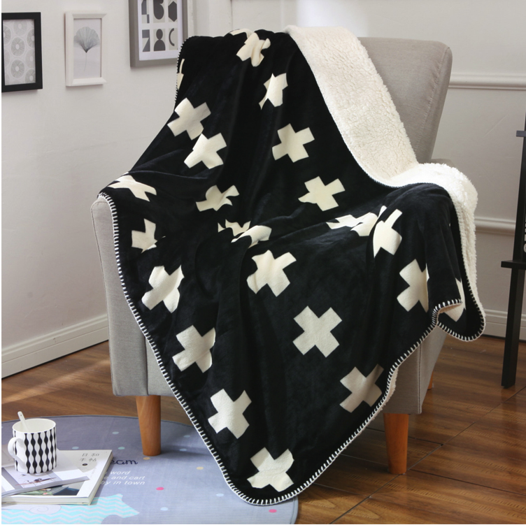 wholesale USA imports super soft and cheap warm minky flannel fabric sherpa throw blanket for Hotel sofa bed blanket