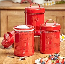 New Stylish Embossed Logo Set of 3 Red Metal Coffee Tea Sugar Tin Canister