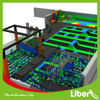 ASTM approved Over 800 Square Meters high quality trampoline park with Ninja Warrior course
