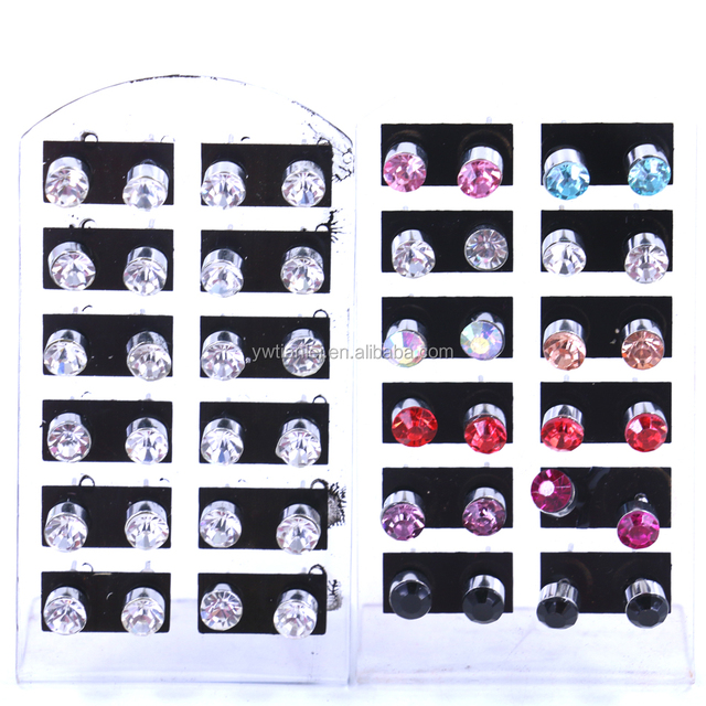 Free Shipping Small Wholesale Lot Cheap12pairs Set Iron Needle 6mm Rhinestone Shining Fake Diamond Simple Earrings