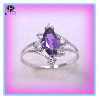 Amethyst marquise shaped cubic zirconia ring