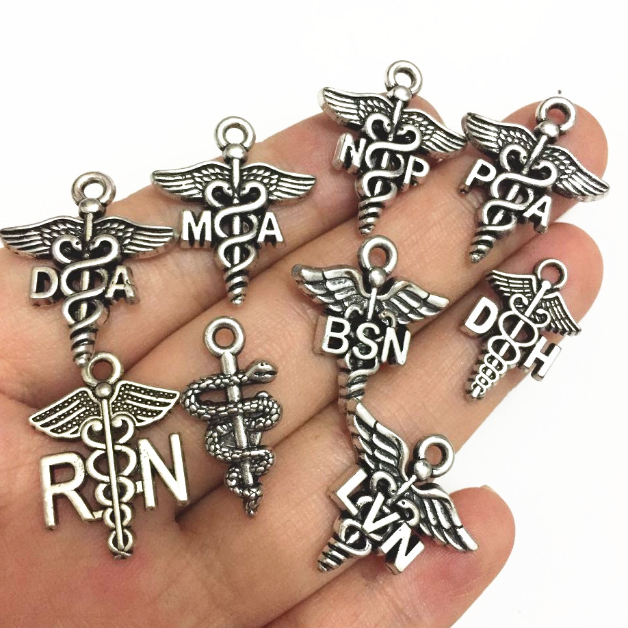 Mixed 90pcs Antique Silver Plated Medical Caduceus NP DA MA NP PA RN BSN DH LVN Nurse Doctor Themed Collection <strong>Charms</strong>