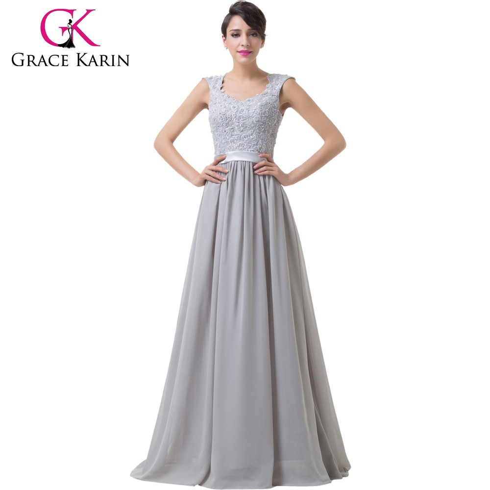 Grace Karin Off Shoulder Backless Sweetheart Chiffon Grey Long Mother of the Groom Evening Dress CL6231-1