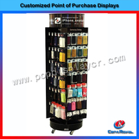 Metal floor standing 4 sides display cell phone accessory display rack with wheels