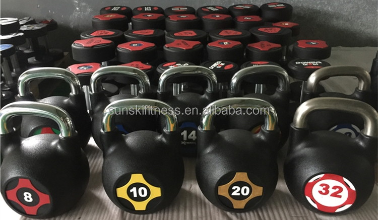 Dumbbell Type Crossfit Training Competition PU Kettle-bell
