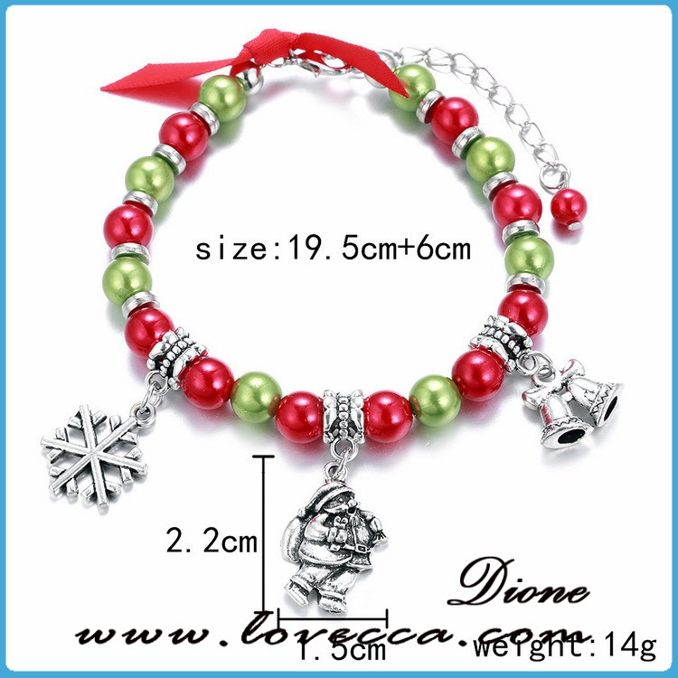 Adjustable size christmas gifts colorful beads with charms bell snowman snowflake bracelet