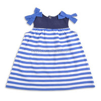 LOW MOQ Wholesale Girl's Cotton Summer Striped New Model Girl Dress
