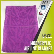 PURPLE COLOR JACQUARD AIRPLANE BLANKET IN THE MATERIAL OF 100% MODACRYLIC PASS THE TEST OF FAR 25.853