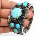 Vintage Metal Bangle designs for girls with Turquoise
