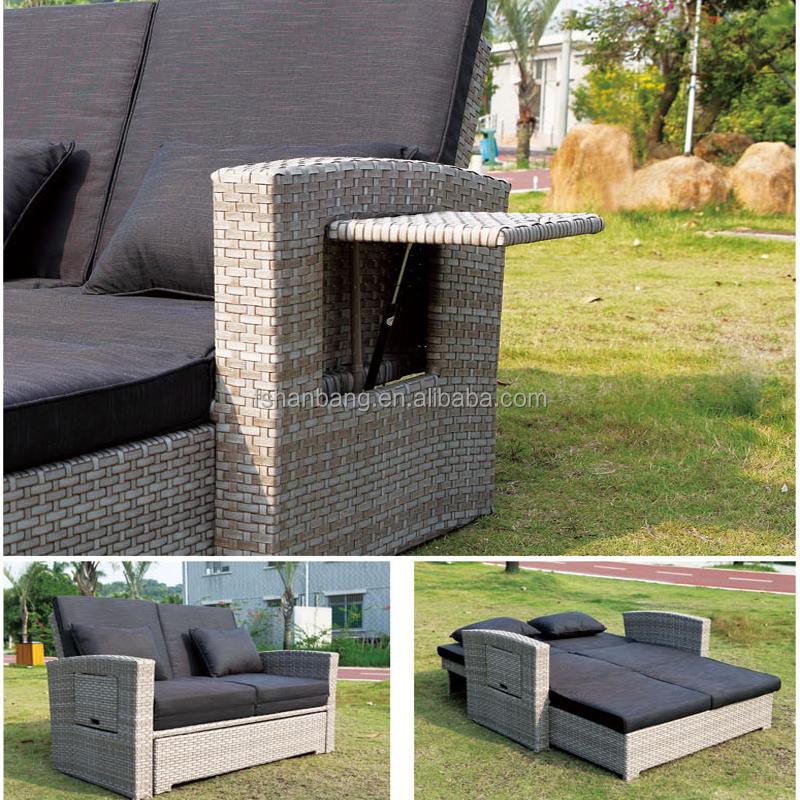 Moderne Garten Rattan Möbel Im Freien Doppelte Sofa Liege Bett
