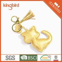 High Quality Children Handmade PU Animal Shaped Leather Cat Keychain
